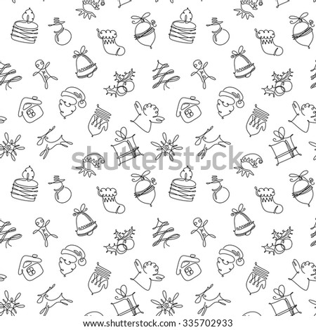 Minimalistic black and white Christmas seamless pattern - stock vector
