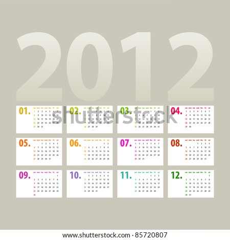 minimalistic 2012 calendar design - week starts with sunday - stock vector