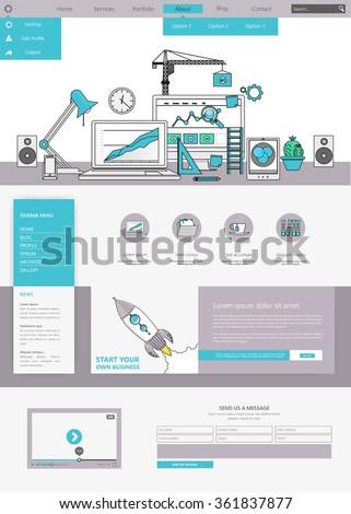Minimalistic colored creative website template  - stock vector