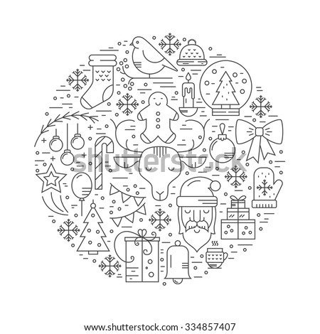 Minimalistic concept with christmas objects. New year celebration pictogramms.Clean and easy to edit. Unique illustration for t-shirts, banners, flyers and other types of business design.   - stock vector