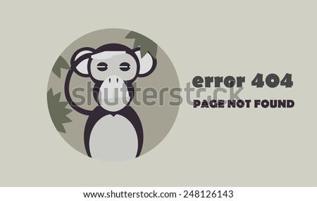 minimalistic error 404 icon with suspicious monkey - stock vector