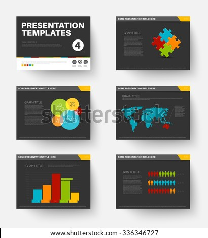 Minimalistic flat design Vector Template for presentation slides part 4, dark version - stock vector