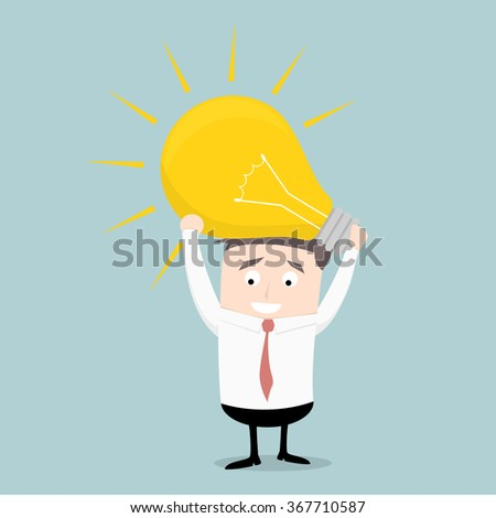 minimalistic illustration of a businessman holding a lightbulb, eps10 vector - stock vector