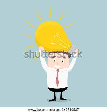 minimalistic illustration of a businessman holding a lightbulb, eps10 vector - stock vector