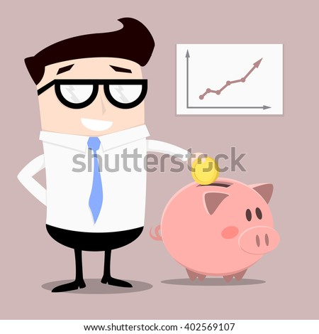 minimalistic illustration of a businessman putting money into a piggybank, eps10 vector - stock vector