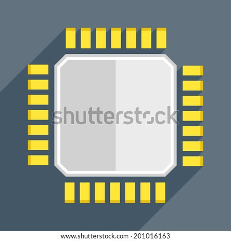minimalistic illustration of a cpu, eps10 vector - stock vector