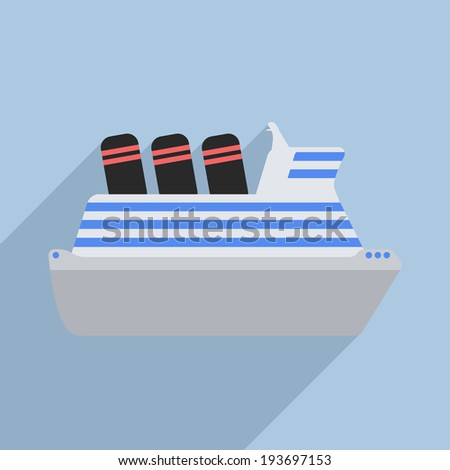 minimalistic illustration of a cruise ship, eps10 vector - stock vector