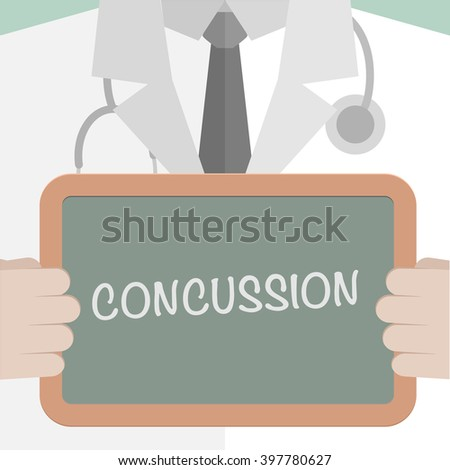 minimalistic illustration of a doctor holding a blackboard with Concussion text, eps10 vector - stock vector