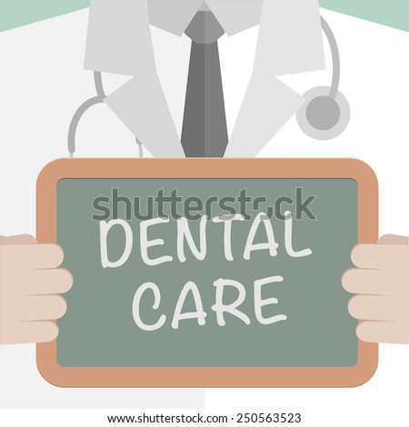 minimalistic illustration of a doctor holding a blackboard with dental care text, eps10 vector - stock vector