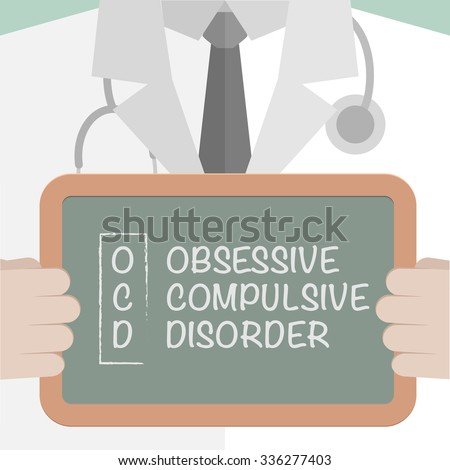 minimalistic illustration of a doctor holding a blackboard with OCD term explanation, eps10 vector - stock vector