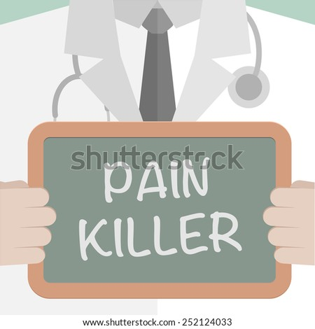 minimalistic illustration of a doctor holding a blackboard with Pain Killer text, eps10 vector - stock vector
