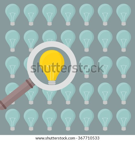 minimalistic illustration of a magnifiying glass over several lightbulbs, eps10 vector - stock vector
