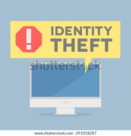 minimalistic illustration of a monitor with a Identity Theft alert speech bubble, eps10 vector - stock vector
