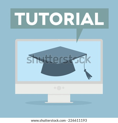 minimalistic illustration of a monitor with a Tutorial speech bubble, eps10 vector - stock vector