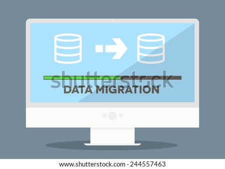 minimalistic illustration of a monitor with data migration progress screen, eps10 vector - stock vector