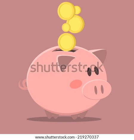 minimalistic illustration of a piggybank, eps10 vector - stock vector