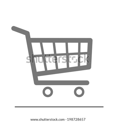 minimalistic illustration of a shopping cart icon, eps10 vector - stock vector