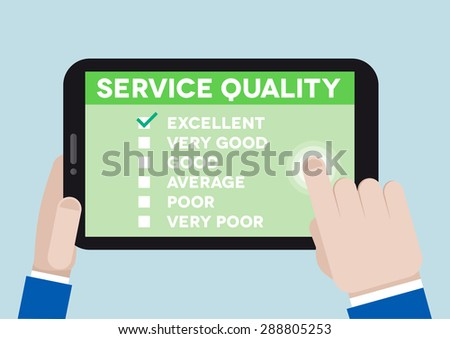 minimalistic illustration of hands holding a tablet computer with service quality survey, eps10 vector - stock vector