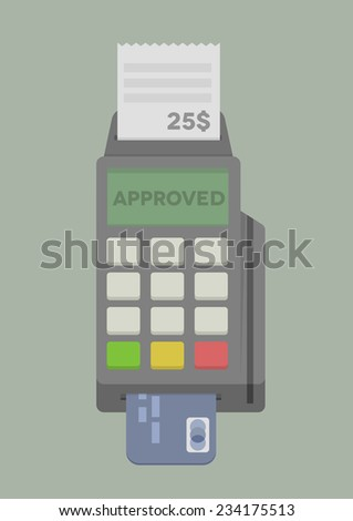 minimalistic illustration of POS Terminal with inserted credit card, eps10 vector - stock vector