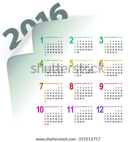minimalistic light multicolor 2016 calendar design - week starts with sunday - stock vector
