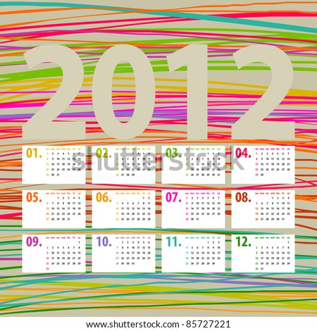 minimalistic, multicolor lines 2012 calendar design - week starts with sunday - stock vector