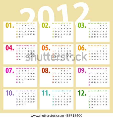 minimalistic, multicolor lines 2012 calendar design - week starts with sunday - stock vector