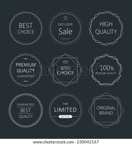 Minimalistic premium quality badge collection - stock vector