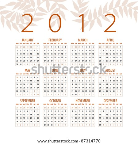 minimalistic 2012 red and white calendar design - week starts with sunday - stock vector
