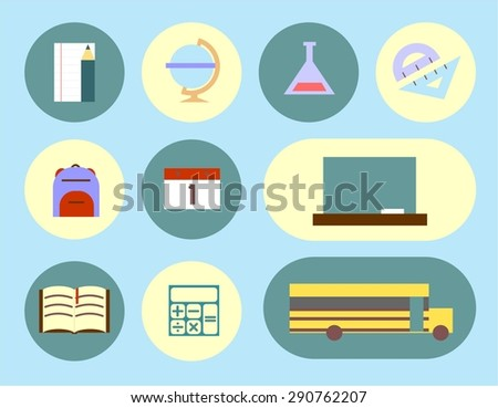minimalistic school and Education Icons - set. bubbles - stock vector
