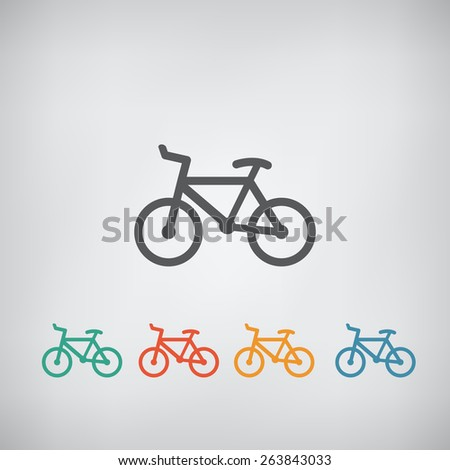 Minimalistic simple flat bicycle icon. Vector illustration - stock vector