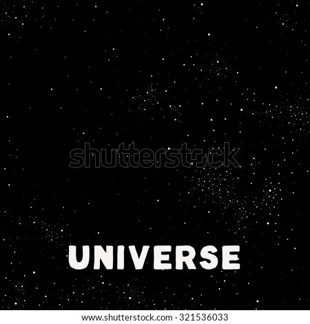 Minimalistic vector universe. Dark night sky with tons of stars and planets. - stock vector