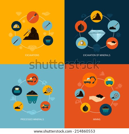 Mining and mineral excavation flat icons composition isolated vector illustration - stock vector