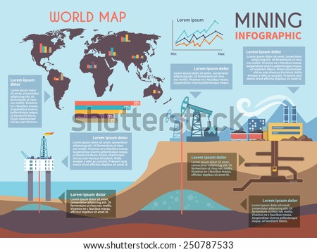Mining infographics set with drilling industry and mineral extraction process symbols and charts vector illustration - stock vector