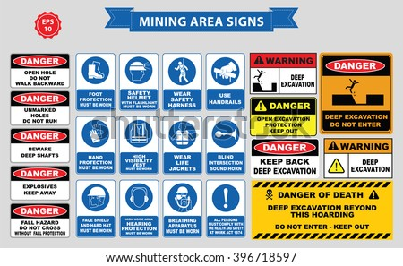 Mining mandatory sign (safety helmet with flashlight must be worn, use handrails, dust mask, breathing apparatus, goggles, hearing protection, fasten seat belts, sound horn) - stock vector