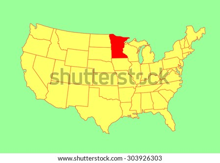 Minnesota State, USA, vector map isolated on United states map. Editable blank vector map of USA. - stock vector