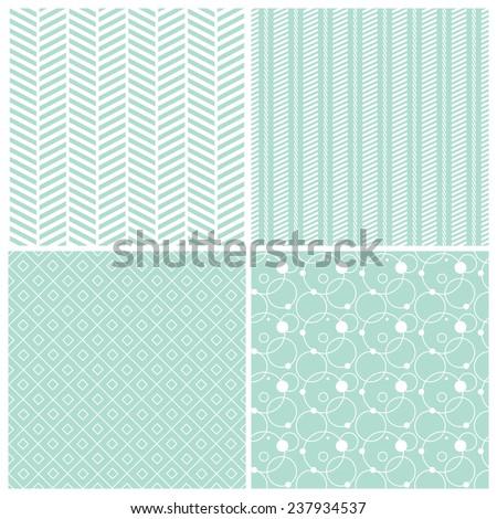 mint geometric seamless patterns: chevron, stripes, dots, circles, squares, grid, vector illustration - stock vector