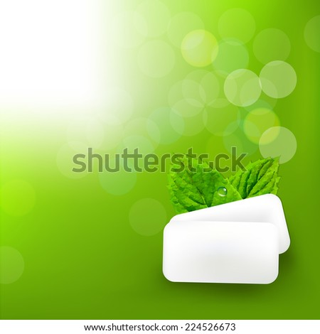 Mint Gum With Blur Bokeh With Gradient Mesh, Vector Illustration - stock vector