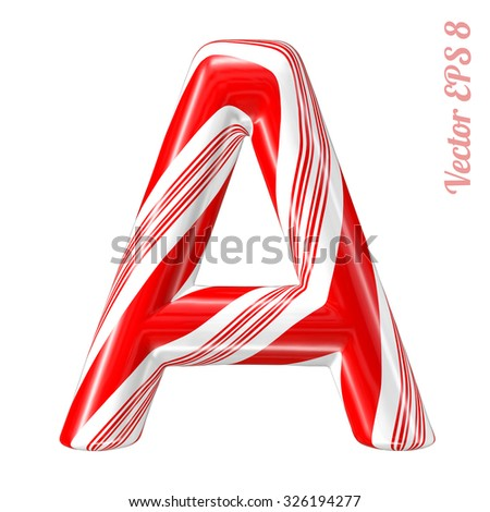 Mint hard candy cane vector alphabet collection striped in Christmas colours. Letter A. Eps 8 using mesh. - stock vector
