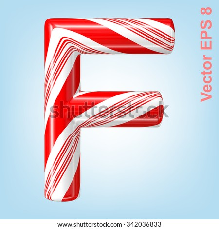 Mint hard candy cane vector alphabet collection striped in Christmas colours. Letter F. Eps 8 using mesh. - stock vector