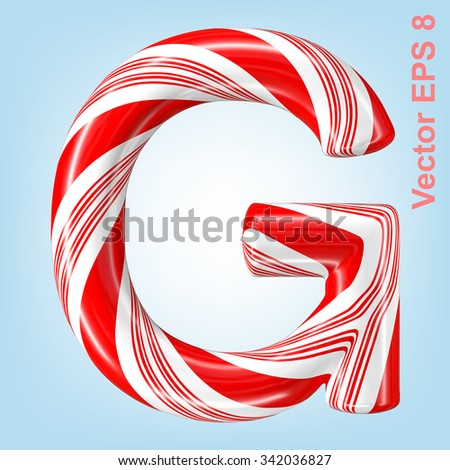 Mint hard candy cane vector alphabet collection striped in Christmas colours. Letter G. Eps 8 using mesh. - stock vector