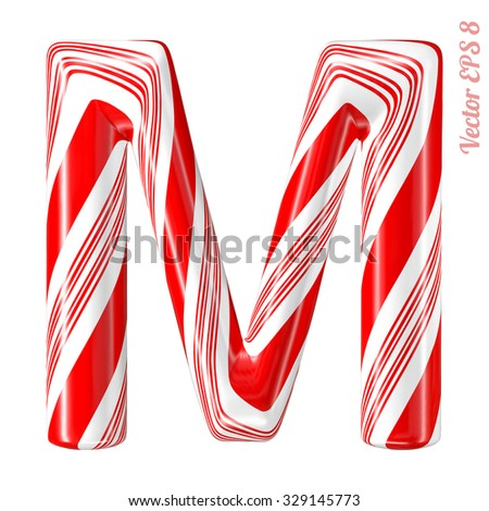 Mint hard candy cane vector alphabet collection striped in Christmas colours. Letter M. Eps 8 using mesh. - stock vector