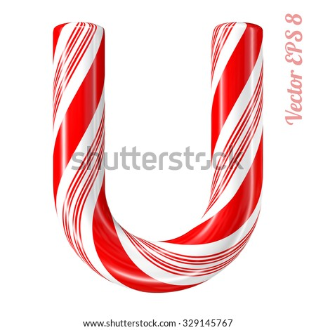 Mint hard candy cane vector alphabet collection striped in Christmas colours. Letter U. Eps 8 using mesh. - stock vector