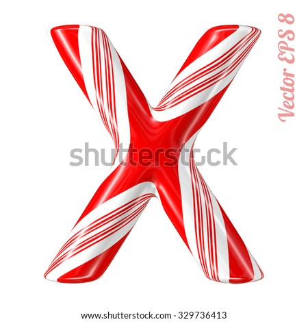 Mint hard candy cane vector alphabet collection striped in Christmas colours. Letter X. Eps 8 using mesh. - stock vector