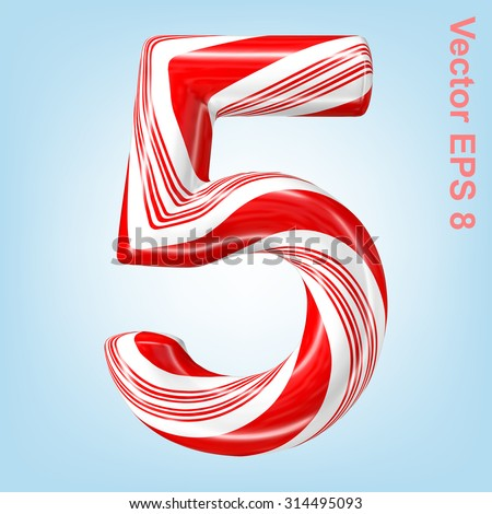 Mint hard candy cane vector number collection striped in Christmas colours. Figure 5. Eps 8 using mesh.