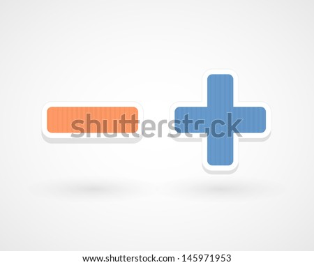 Minus and plus - stock vector