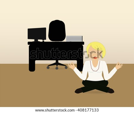 Minute yoga among hard day's work. Vector EPS 10. - stock vector