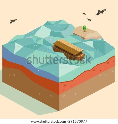 miracle noah arc. vector illustration - stock vector