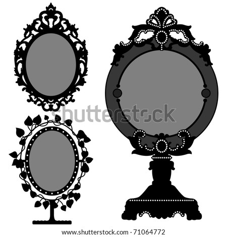 Mirror Ornate Vintage Retro Princess - stock vector
