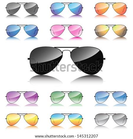 Mirror sunglasses icons set - stock vector