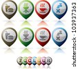 Miscellaneous internet (web) icons set, pictured here from left to right: Fast food, Grill, Coffee, Tap - stock vector